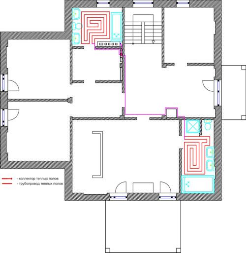 Проект теплых полов 2 этаж