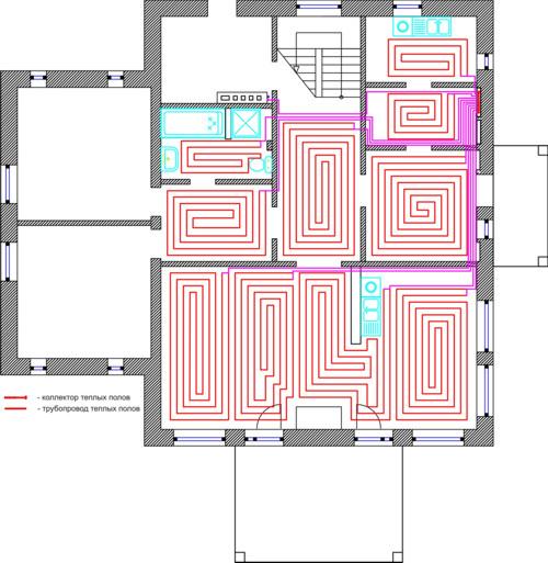 Проект теплых полов 1 этаж